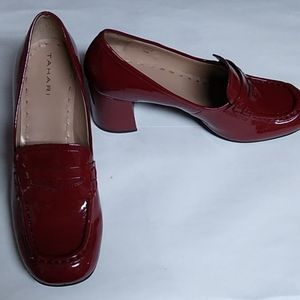 Tahari patent leather  burg/red shoes